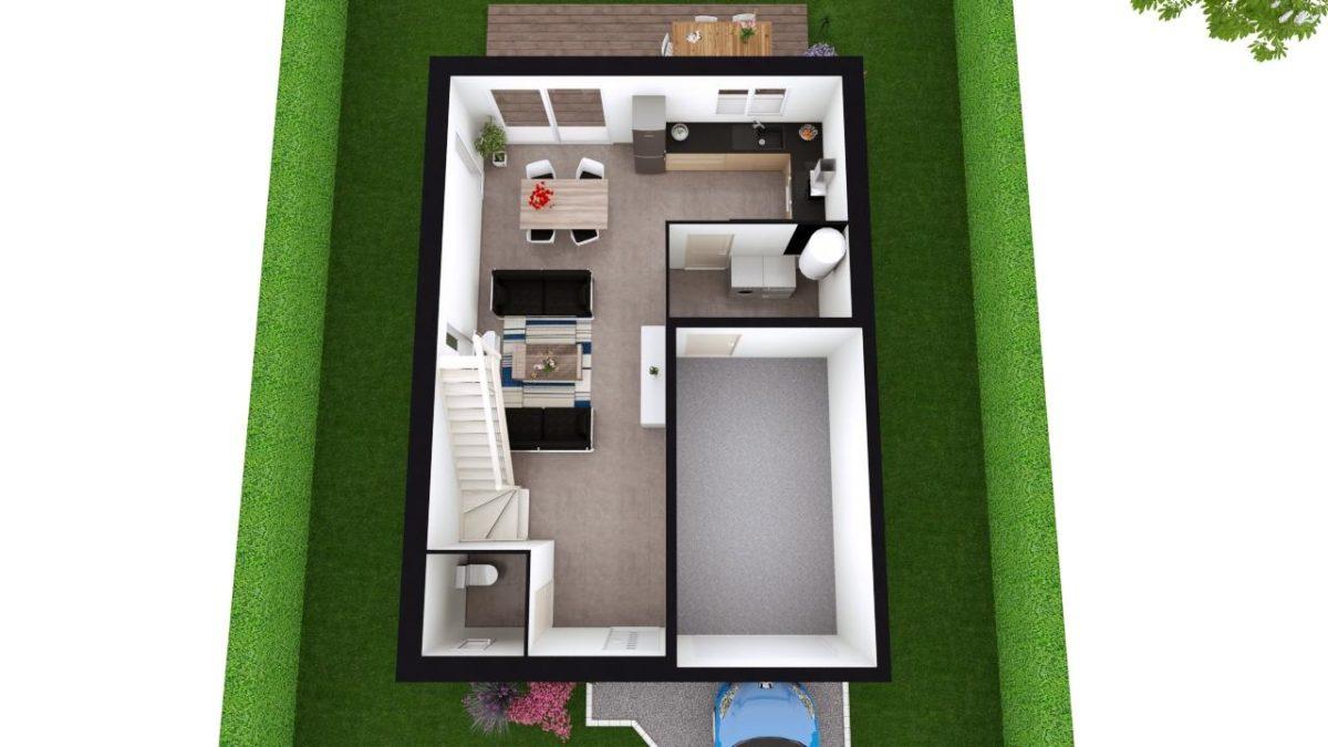 Modèle de Maison LOESS, 4 pièces de 93m² - Proposition d'Aménagement du RdC