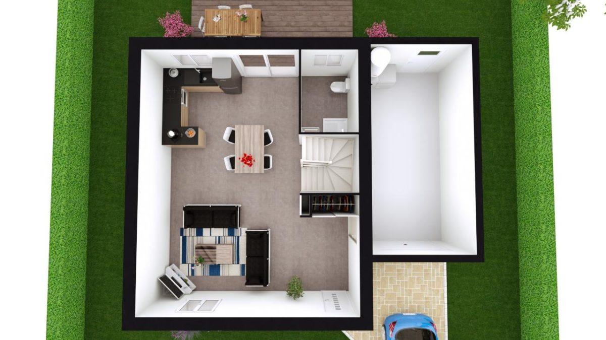 Modèle de Maison MAERL, 5 pièces de 93m² - Proposition d'Aménagement du RdC
