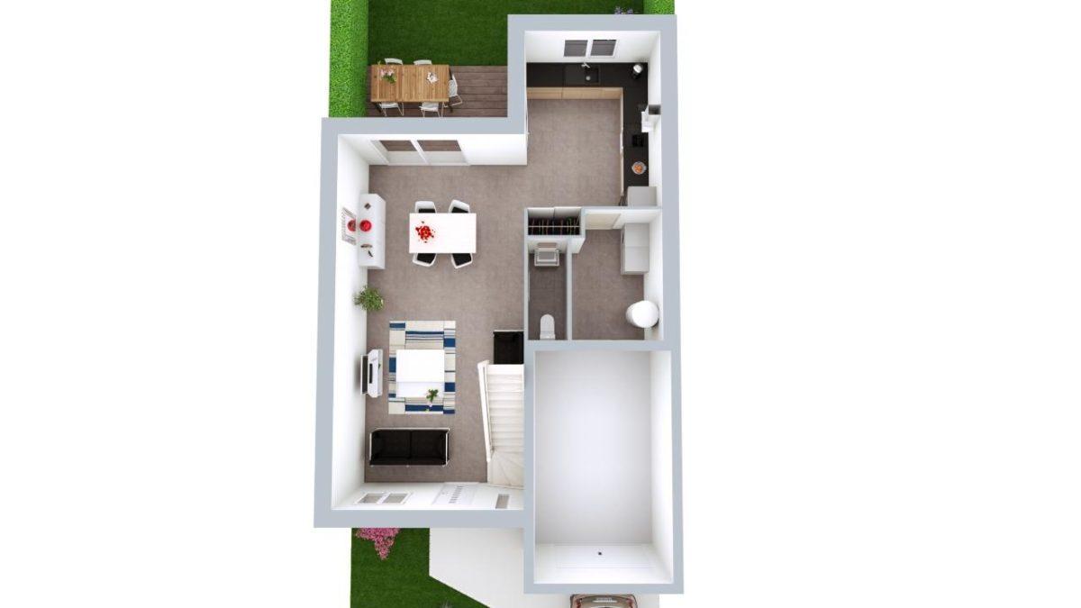 Modèle de Maison PLATINE, 5 pièces de 107m² - Proposition d'Aménagement du RdC