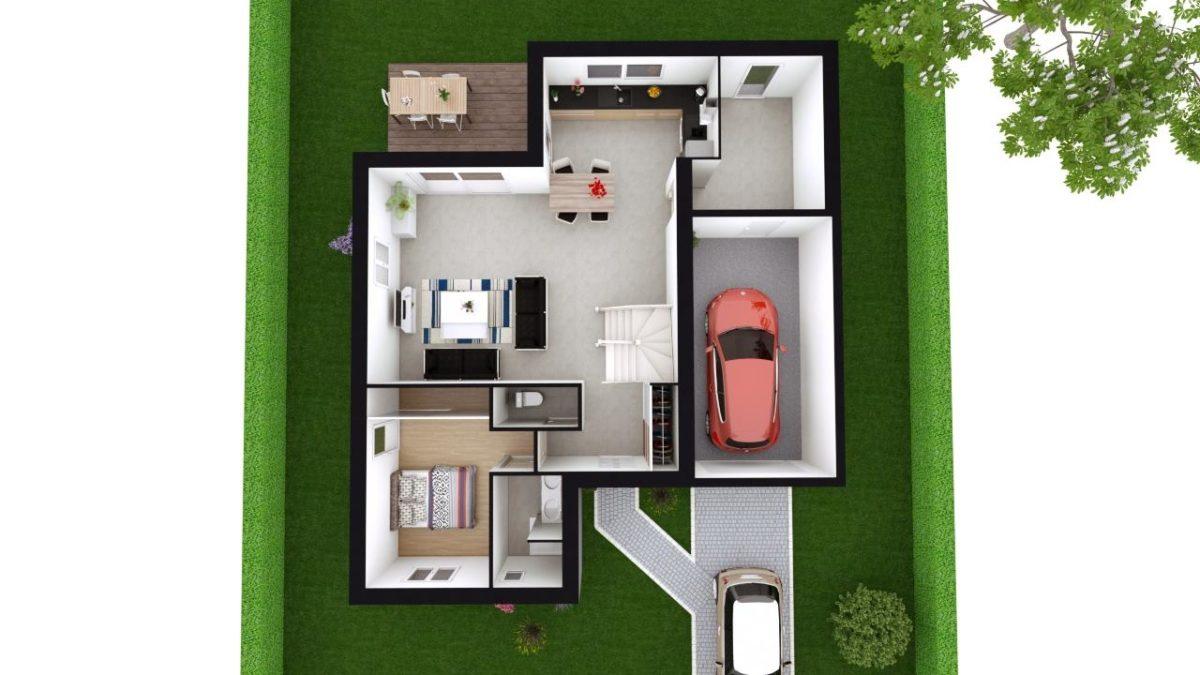 Modèle de Maison POUZZOLANE, 6 pièces de 121m² - Proposition d'Aménagement du RdC