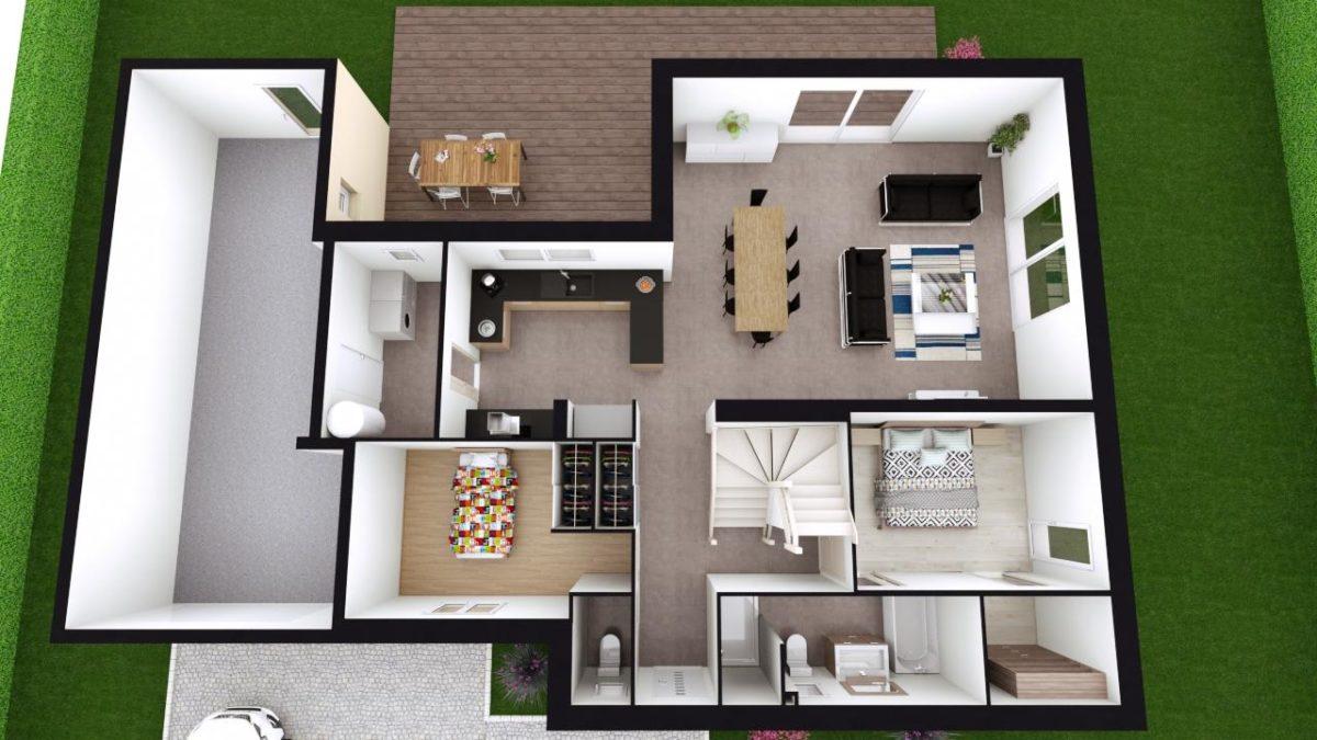 Modèle de Maison PYRITE, 6 pièces de 135m² - Proposition d'Aménagement du RdC