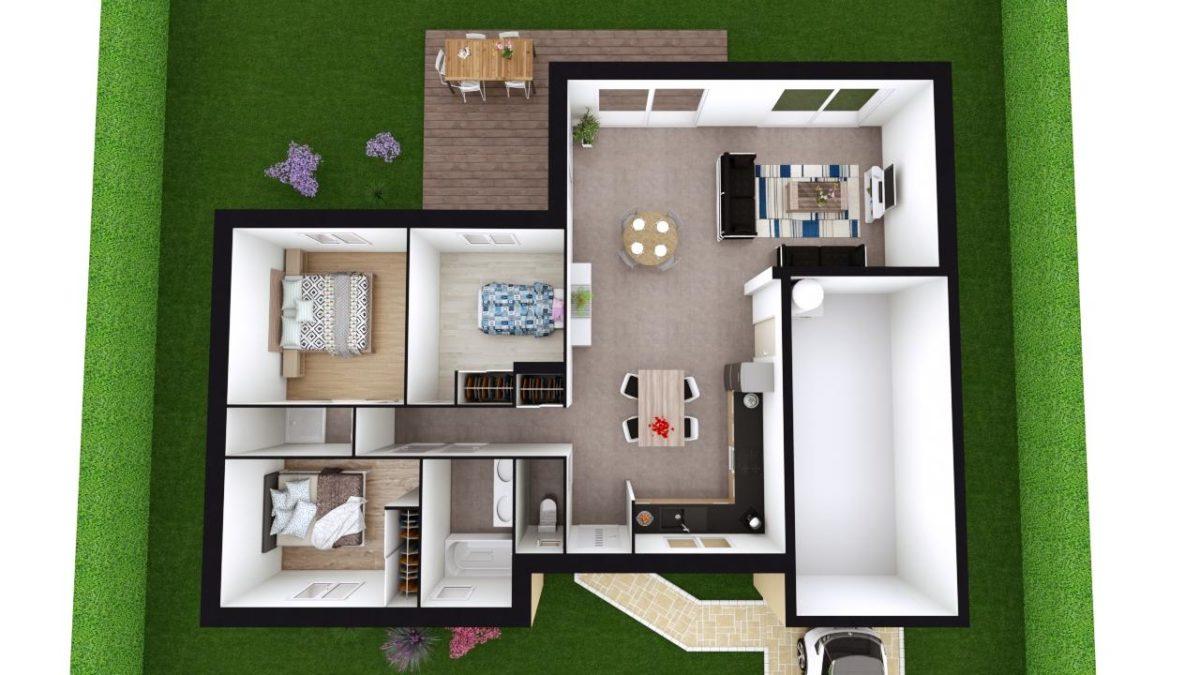 Modèle de Maison MAGNÉSITE, 5 pièces de 94m² - Proposition d'Aménagement du RdC