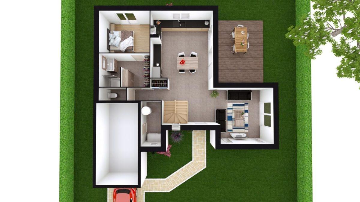 Modèle de Maison PRASÉODYME, 6 pièces de 119m² - Proposition d'Aménagement du RdC