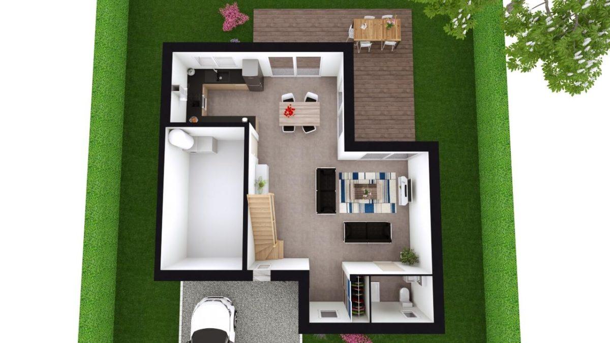 Modèle de Maison MANGANÈSE, 5 pièces de 96m² - Proposition d'Aménagement du RdC