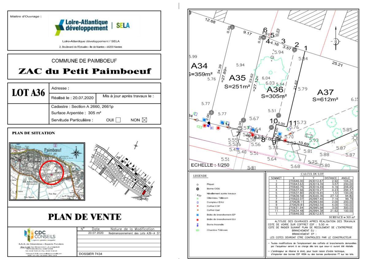 Le Petit Paimboeuf à Paimboeuf - Plan de Vente Lot A 36
